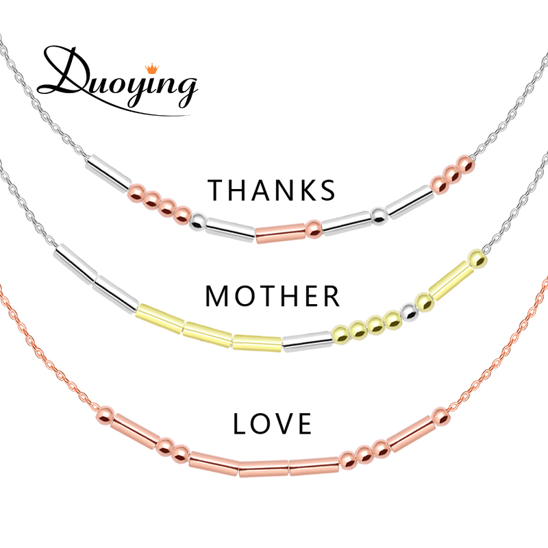 Duoying Personalized Morse Code Necklace Custom Delicate Hidden Message Necklace Trendy Friendship Gift Necklace Supply For