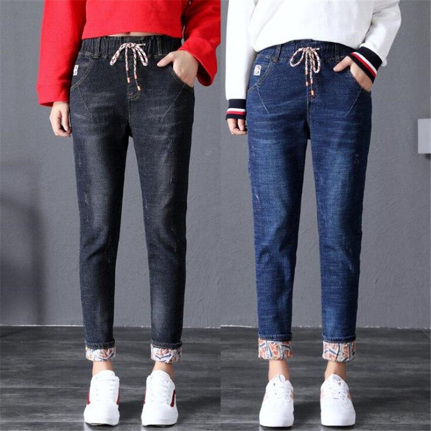 KMUYSL 2018 Autumn Winter Korean women s high waist high elasticity self cultivation plush thicker pencil