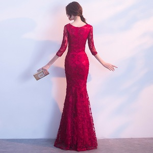 Image 2 - DongCMY ロングフォーマルスリーブイブニングドレス Burgund 色 Vestido プラスサイズパーティー均等化ガウン