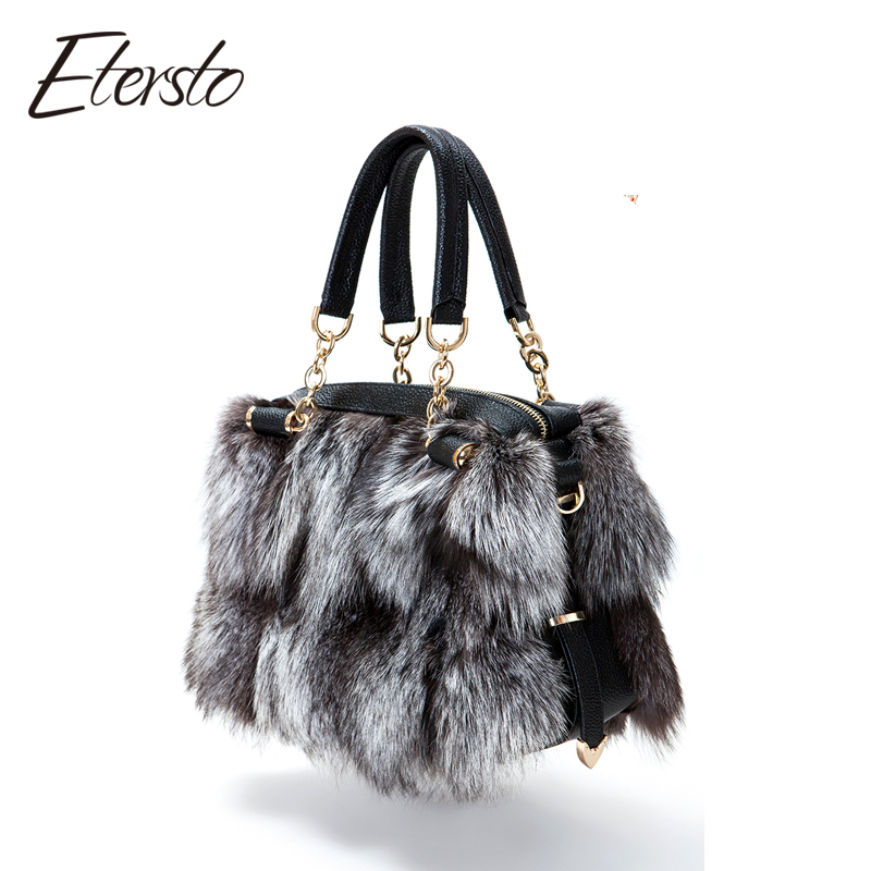 Etersto 2017 New Women Silver Fox Fur Leather Messenger Bags Fashion Solid Female Flap Bags High Quality Ladies Crossbody Bags etersto 2017 new real brown mink fur women bags leather fur messenger bag solid big handbag fashion ladies crossbody bags