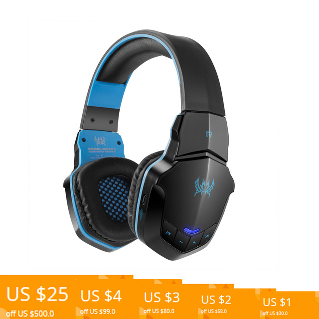 288546e8193 Gaming Headset Wireless Bluetooth Headphone Over-ear Stereo Music headphone  with Mic for iPhones Tablet PC Black with Blue