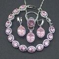 Oval Pink Creado Topaz 925 Pendientes de Plata de La Joyería Para Las Mujeres de La Astilla/Colgante/Collar pulsera Caja de Regalo Libre