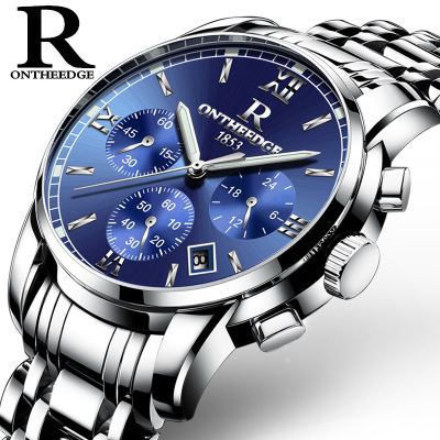 New famous brand watches ONTHEEDGE Men Wrist Watches Casual waterproof stainless steel Quartz watch calendar relogio masculino new famous brand watch men fashion business quartz watches casual calendar waterproof steel strap wristwatch relogio masculino