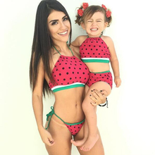Family Matching Outfits Swimsuit Mother Daughter Dresses Mama and Girl Swimwear Red Watermelon Matching Mother Daughter Clothes