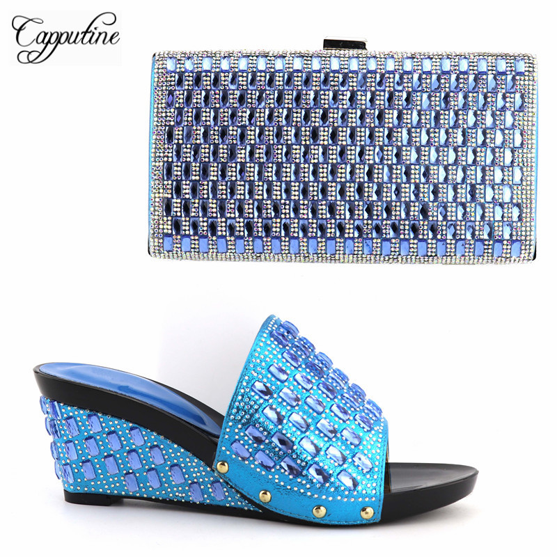 Bolso Italiano Y 2017 plata Juego Plata Para Zapatos Fiesta Zapato Capputine A Mujer azul oro Nigeriano Boda Rhinestone La Cielo Color Con Negro wIFqxf0B