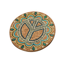 1 Pc Round Moisture Resistant Natural Cork Drink Coasters Cup Coasters Patterned Heat Insulation Mats Pot Holder(China)