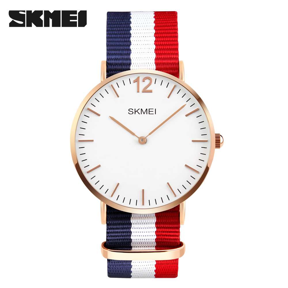 font b SKMEI b font Lovers Quartz Watch Men Stainless Steel Mesh Strap Thin Dial