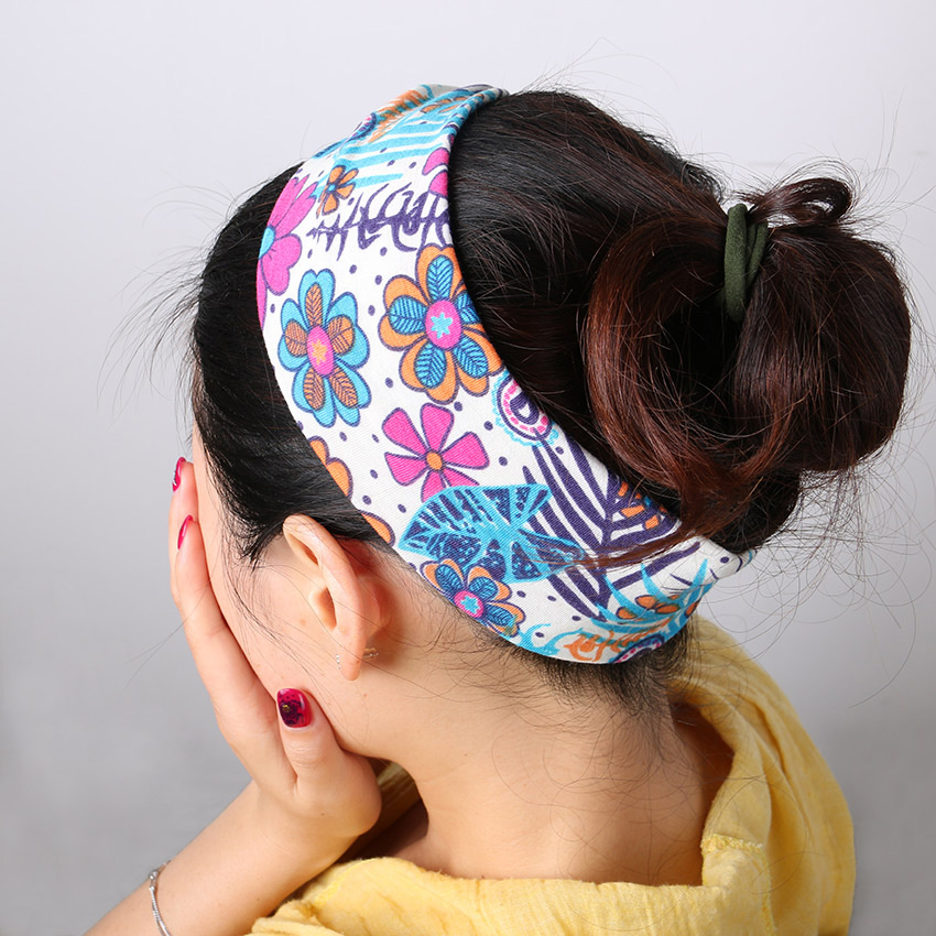 2 pcs Retro Women Elastic Turban Twisted Knotted Headband Ethnic Floral Wide Stretch Hair Band Girl Hair Accessories