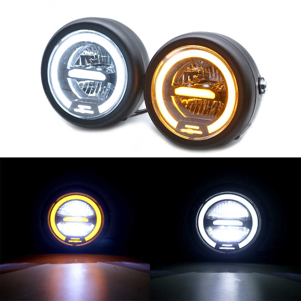 5.75 inch Universal Motorcycle LED Headlight Headlamp with Distance Light High Low Beam Refit headlight for Cafe Racer Vintage Motorcycle Yellow