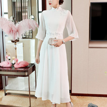 White Dress Women 2019 Spring Summer New Stand Collar Embroidered Chinese Style Slim Hanfu Clothes Zen Elegant Long S-XXL