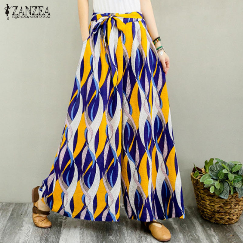 ZANZEA Vintage   Wide     Leg     Pants   2019 Women Casual Elastic Waist Pockets Long Trousers Summer Floral Printed Party Pantalon Femme