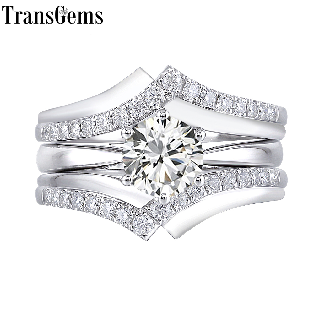 Transgems 10 K Wit Goud Belangrijkste 1ct 6.5mm F Kleur Moissantie Diamond Engagement Ring Set voor Vrouwen Bruiloft Grijpende 2 stuk-in Ringen van Sieraden & accessoires op  Groep 1