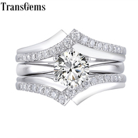Transgems 10K White Gold Main 1ct 6.5mm F Color Moissantie Diamond Engagement Ring Set for Women Wedding Interlocking 2 Piece