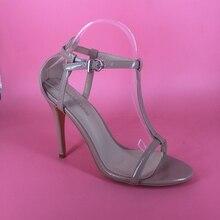 Black Patent Sleek T-Strap Women Sandals Adjusting Closure 4 1/2 Inch Stiletto Heel Ladies Shoes Made-to-order Plus Size EU43