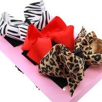 DIY Ribbon Polka Dot Bow Elastic Hair band Headband Girls Headwear Hair Accessory Kids With Box For Gift 3pcs set