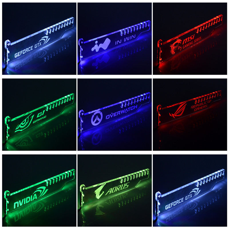 Anti-bending Graphics Card Support Frame Graphics Companion Luminous Holder light color can be changed