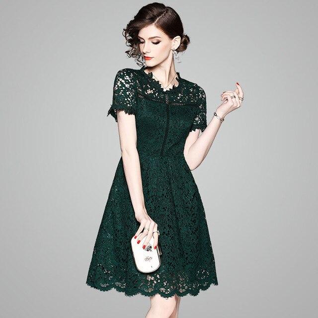 2018 New Summer Style Designer Dress Women High Quality Fashion Elegant  Short Sleeve Hollow Out Green da528b0d17a6