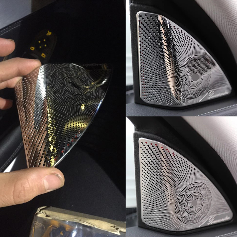 Car-styling Stainless Steel Car Door Audio Speaker Decorative Cover Trim 3D Sticker For Mercedes Benz New C Class W205 2015-2017