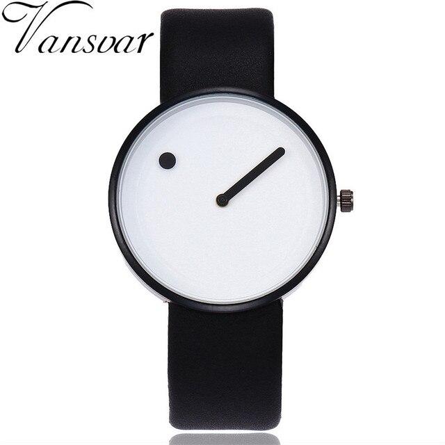 Vansvar Brand Minimalist Style Women Watches Creative Design Dot and Line Simple
