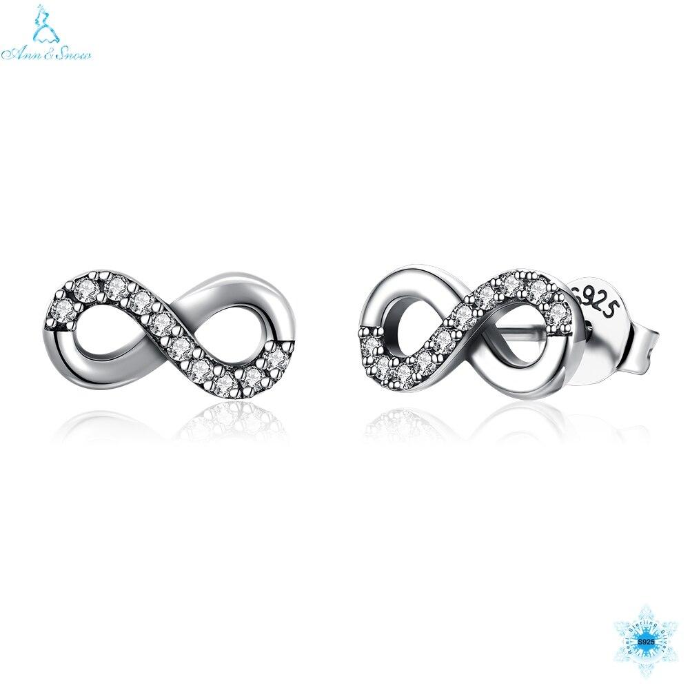 Begeistert Hohe Qualität 925 Sterling Silber Unendlichkeit Liebe Klar Cz Knoten Ohrringe Für Frauen Edlen Schmuck