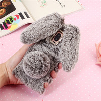 3D Cute Rabbit Hairy Warm Fur Case For Huawei Mate 10Pro Bling Rhinestone Plush Bunny Cover