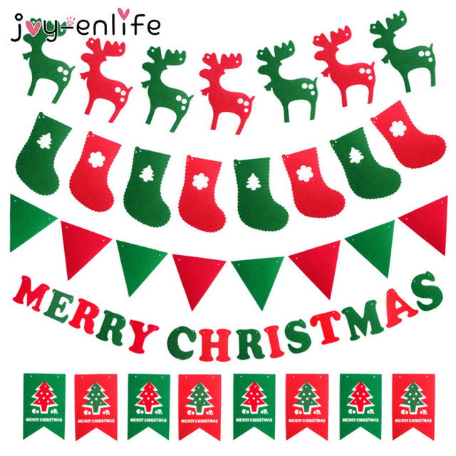 2d77ca8be51f Merry Christmas Banner Reindeer Socks Xmas Tree Flags Happy New Year 2018  Christmas Decorations Photo Booth Props-in Banners, Streamers & Confetti  from Home ...