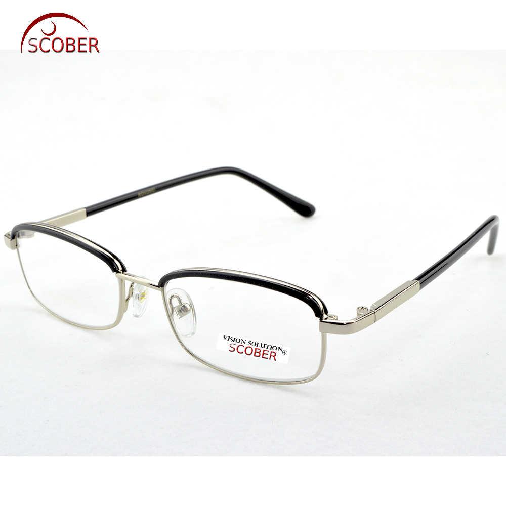 11620579ed ... SCOBER   Fashion Eyebrows Titanium Alloy Reading Glasses Men Women Anti-fatigue  Glass lenses ...