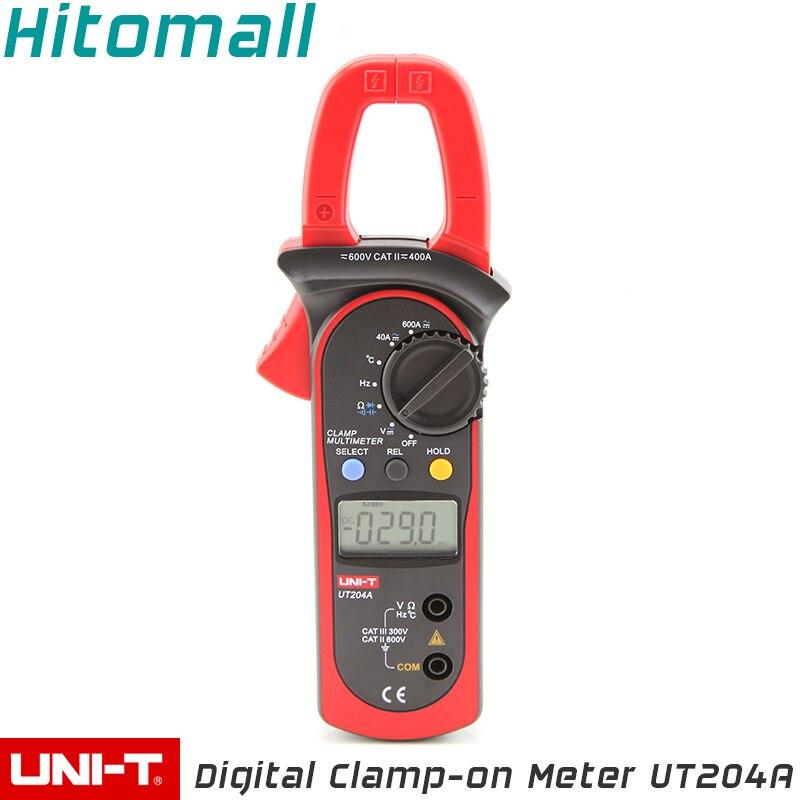 Professional UNI-T Digital Clamp Multimeters Auto Range Temperature AC DC Current Clamp Meter Unit Ammeter Voltmeter UT204A