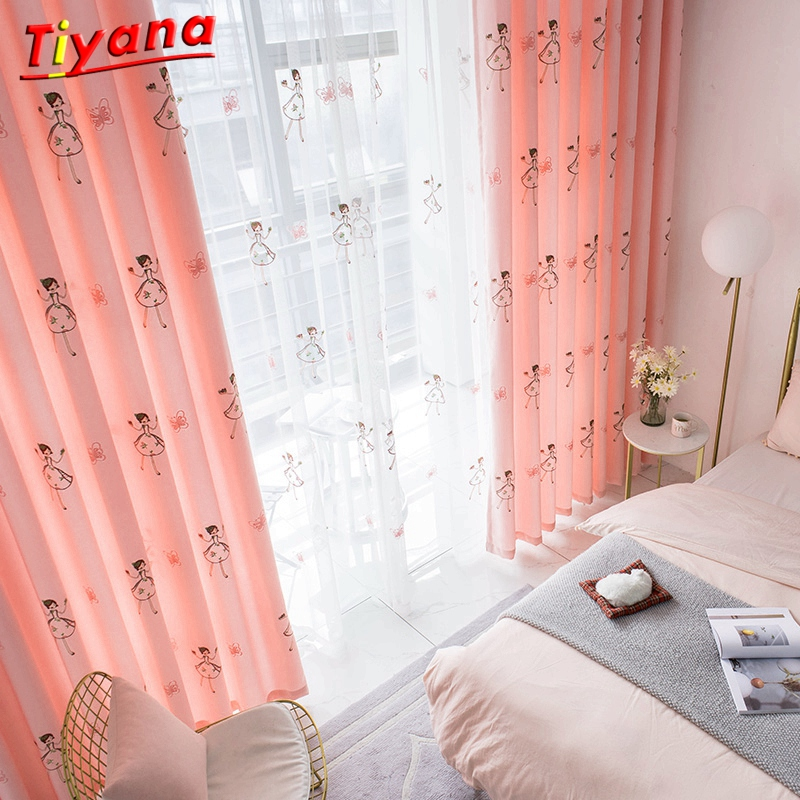 Embroidery Butterfly Blackout Curtains For Baby Girls Bedroom Pink