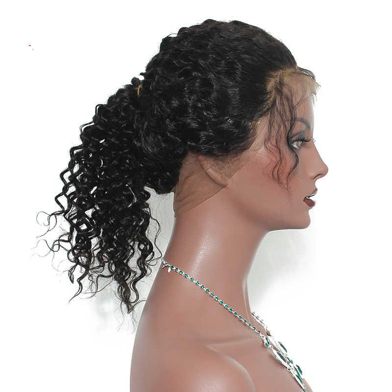 360 Кружева Фронтальная Закрытие глубокие синтетические волосы волнистые бразильские девственные вьющиеся человеческие волосы предварительно сорванные с Детские волосы свободные продукты