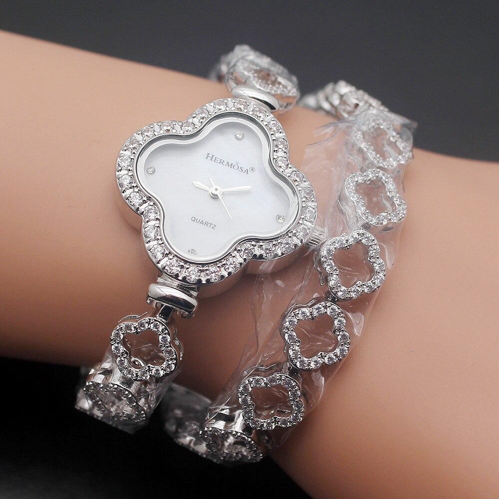 HERMOSA jewelry The best gift genuine 925 sterling silver charm bracelet dazzling double flower beautiful watch