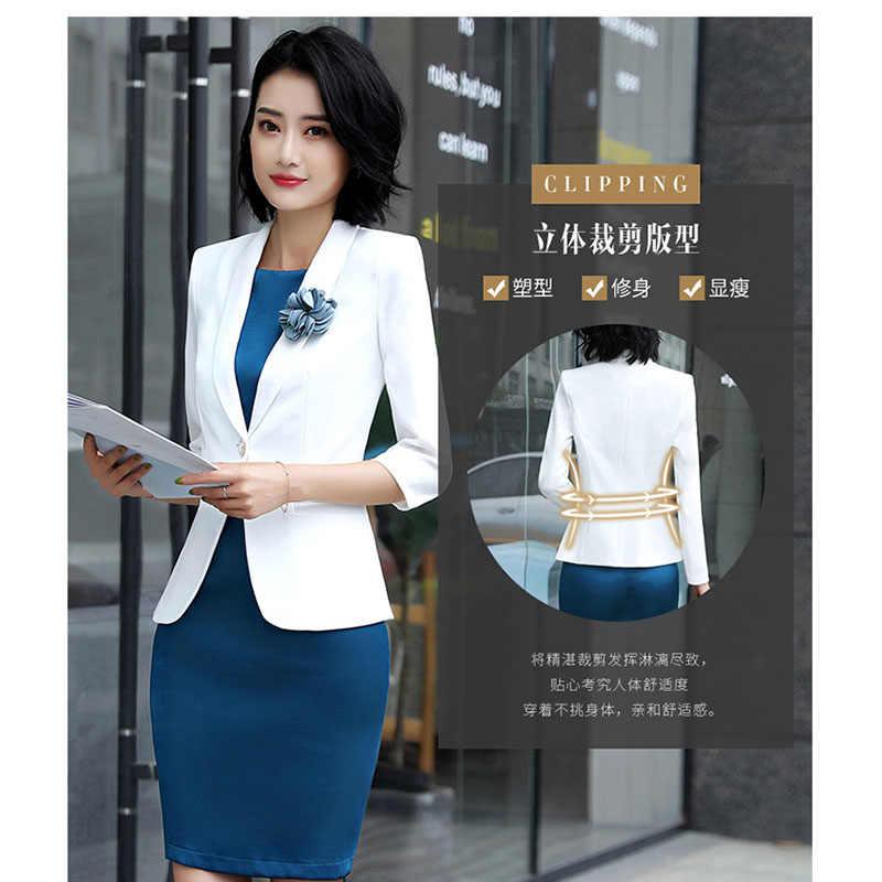 Trabalho de Escritório Vestido Da Senhora Ternos 2 Peça Define Mulheres Elegantes Blazer Jacket + Bainha Vestidos De Seda Femininas Workwear Uniforme 2019 OK220