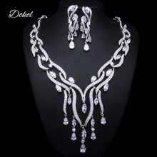 DOKOL Luxury Pear Cut Zircon Bridal Jewelry Sets Micro Paved AAA+ CZ Earring Necklace Set Silver Color bijoux DKS0035