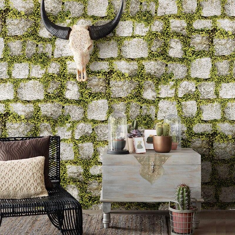 100% Kwaliteit 3d Bloemen Planten Bakstenen Stereo Behang Retro Stone Bricks Nostalgie Kapper Winkel Kledingwinkel Achtergrond Muur Papierrol Een Plus Een Gratis