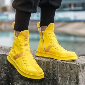 Image 2 - Мужские кроссовки в стиле хип хоп, уличная танцевальная обувь с высоким берцем, кожаная повседневная обувь на толстой подошве, желтые, белые кроссовки на плоской подошве, 2019