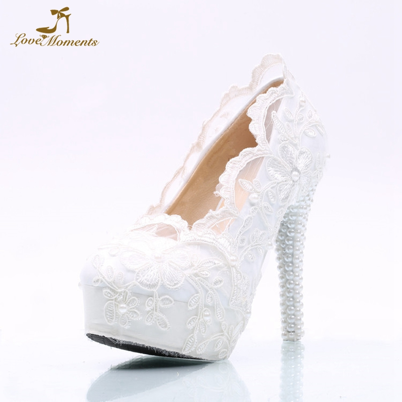 e8c825e57b2 US $41.43 26% OFF|White Lace Bridesmaid Shoes 5 Inches High Heel Platforms  Bride Wedding Dress Shoes Girl Birthday Party Prom Shoes Simple Pumps-in ...