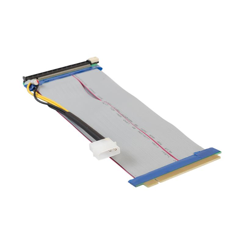 25CM 4PIN Molex Power PCI-E 16X to 16X Riser Card Adapter Converter Extender Flexible Extension Ribbon Cable for Bitcoin Miner pci e 16x riser card extender flexible extension cable ribbon adapter