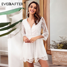 EVERAFTER Elegant lace dress women V neck embroidery sexy mesh hollow out white mini party dresses 2019 autumn dress vestidos цена и фото