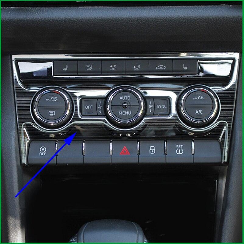 Pour skoda kodiaq GT 2017 2018 ABS intérieur Center climatiseur AC panneau de commande bouton interrupteur couvercle autocollant garniture voiture-style