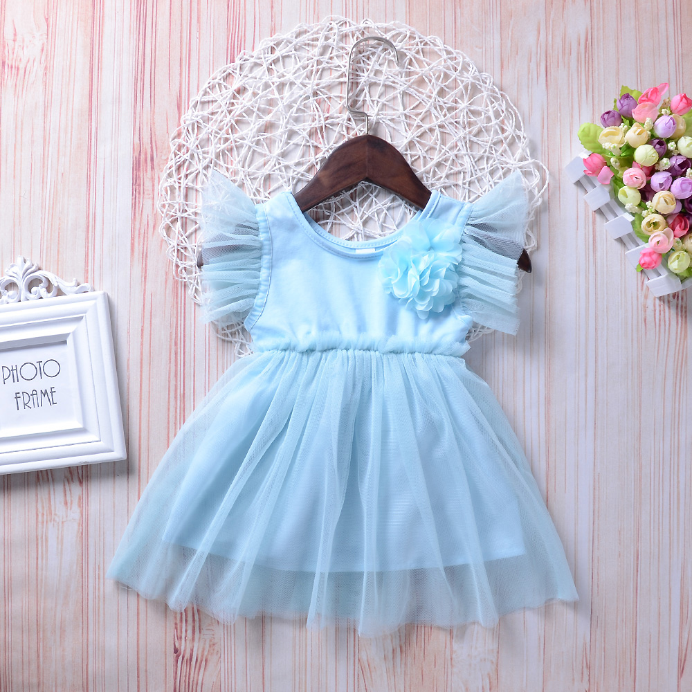 Infant Baby Clothes Solid Sky Blue Tutu Dress Batwing Sleeve Lace Big Floral Girls Dress Bebe Kids Casual Clothes