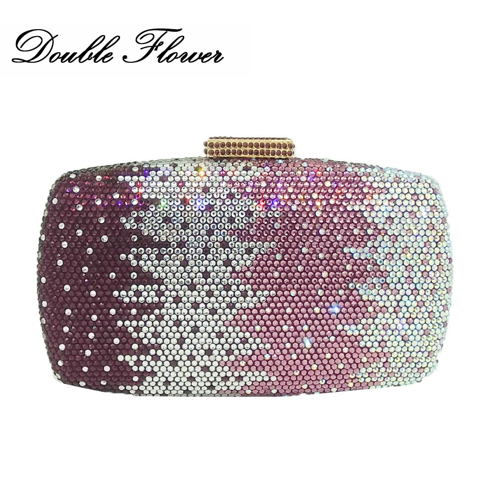 Double Flower Elegant Purple Mixed Women Crystal Clutch Evening Bags Diamond Wedding Handbags Bridal Party Minaudiere