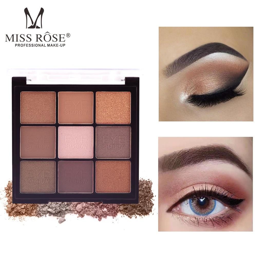 MISS ROSE 9 Color Simmer Matte Pigmented Eye Shadow Palette Bling Eyeshadow Makeup Pallete