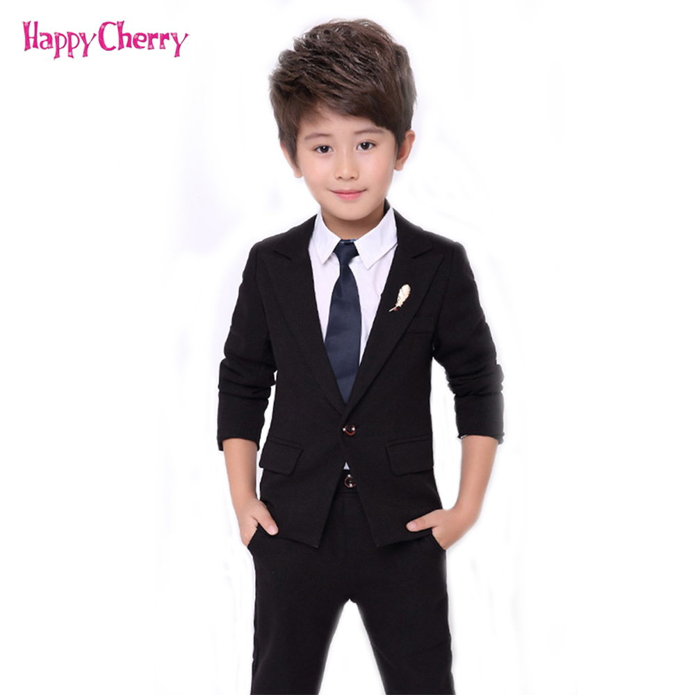 New School Kids Blazer Suit England Style Boys Formal Wedding Birthday Prom Sets Baby Boy Spring Autumn Tuxedos Black Costume boys wedding suit kids tuxedos page boy outfits 3 pieces autumn clothing sets boys blazer suit corduroy occasion suits