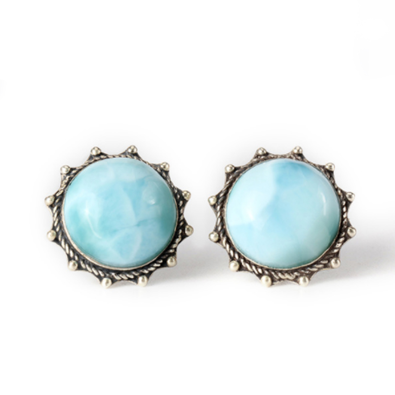 Natural Larimar 925 silver gemstone earrings for women,round flower shape, sun fashion and trendy chic flower shape and sequins embellished newsboy hat for women