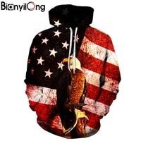 BIANYILONG New Fashion USA Flag Eagle Hoodie Women Men Printed Coat 3d Sweatshirt Outerwear Basicswear Graphic