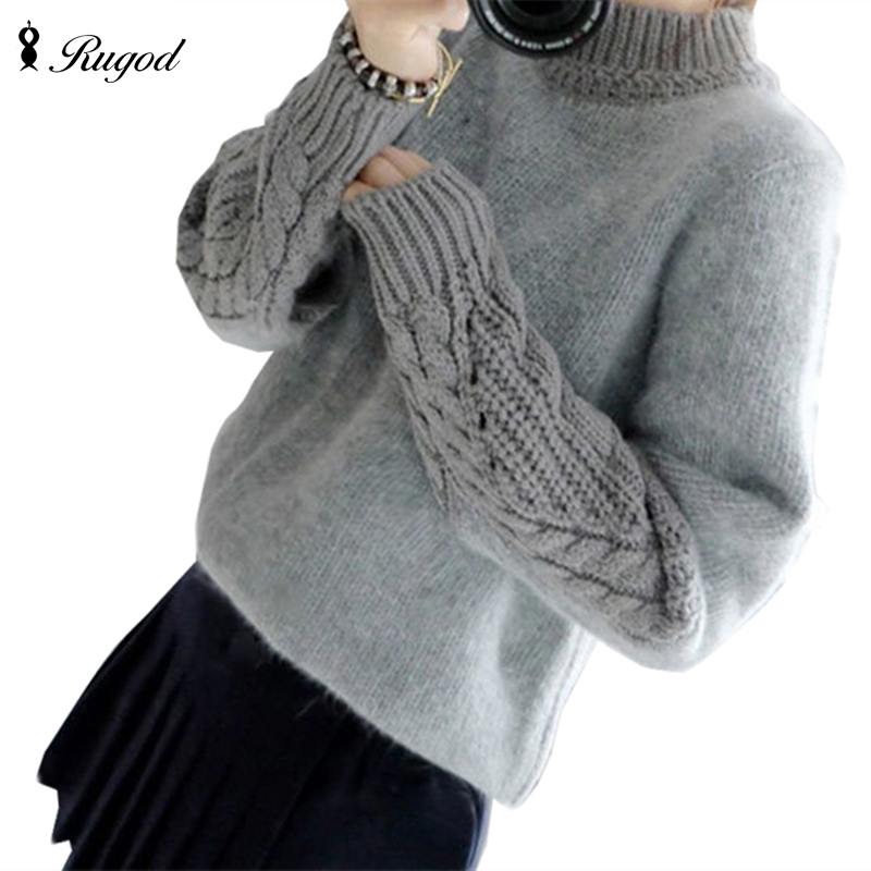 RUGOD Elastic Twisted Sleeves Women Sweaters And Pullover 2019 Autumn Winter Elegant Fashion Patchwork Brand Knitwear Sweater