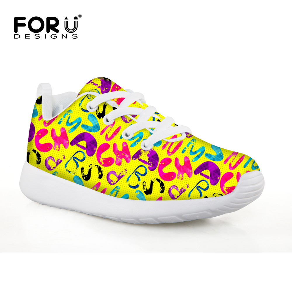 FORUDESIGNS Yellow Letter Flat Comfort Children Sport Sneakers Breathable Badminton Shoes Zapatillas Mujer High Quality Kid Shoe ...