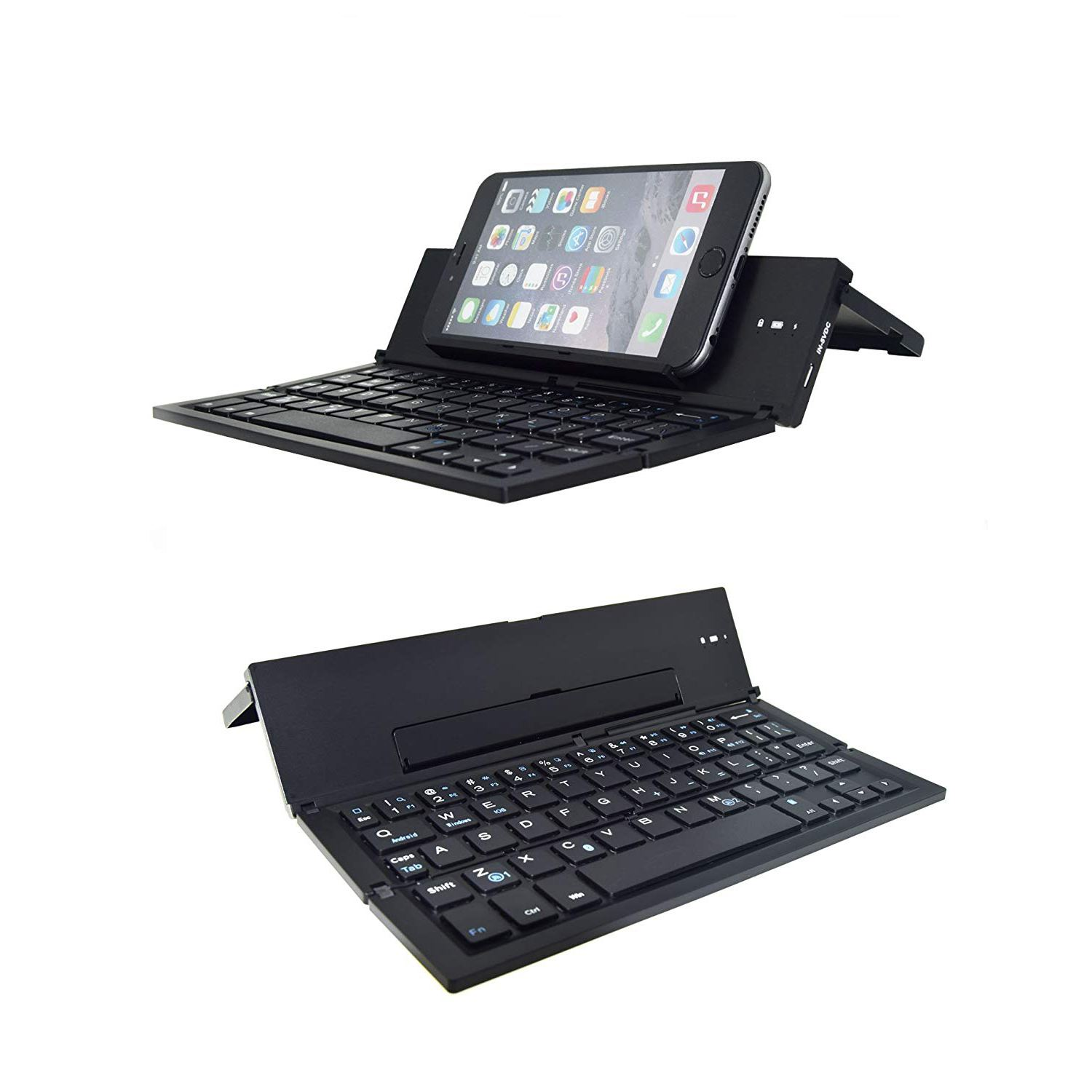 Folding Bluetooth Keyboard,Foldable Wireless Keyboard with Portable Pocket Size, Aluminum Alloy Housing, for iPad, iPhone,Andr portable pocket folding keyboard aluminum bluetooth foldable wireless travel keypad for iphone ipad macbook tablet keyboard