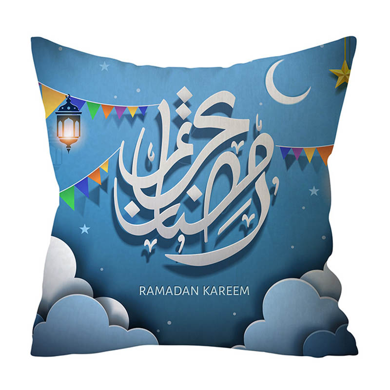 2019 45x45cm Muslim Festival Ramadan Kareem Theme Islam Culture Calligraphy Pillow Case Cover Home Sofa Waist Cushion Cover NCD