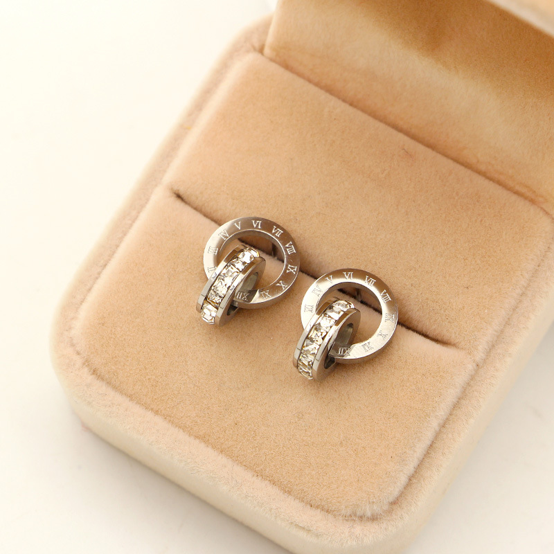 Nye super flash små krystal romerske digitale dobbeltringeøreringe - Mode smykker - Foto 2